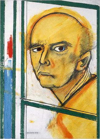 William Utermohlen — Autoportrait au chevalet, jaune et vert (1996)