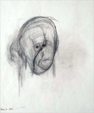 William Utermohlen — Head, August 30 (2000)
