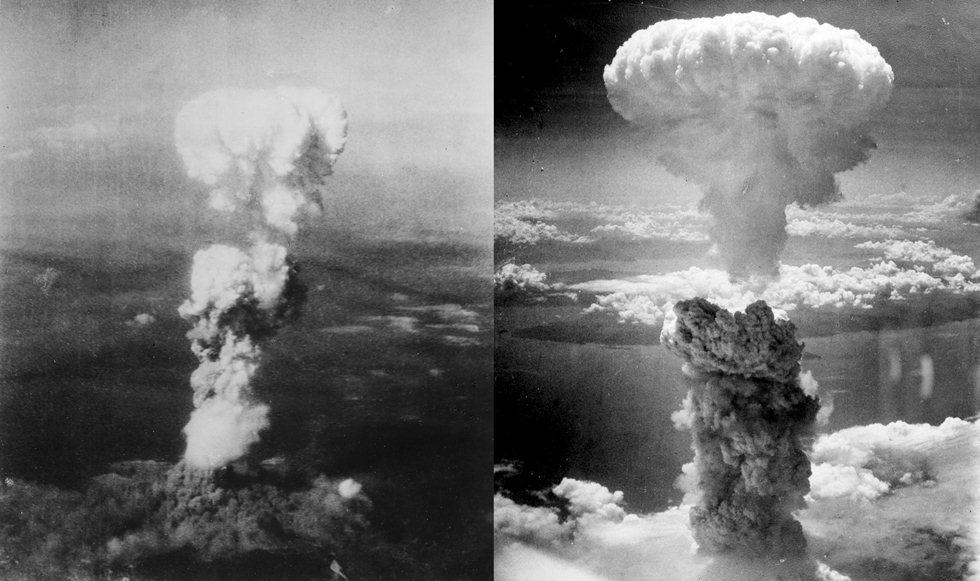 Les champignons atomiques sur Hiroshima et Nagasaki